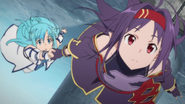 Yuuki flying with Asuna