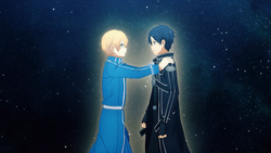 Eugeo encouraging Kirito to fight against Quinella - S3E24