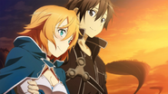 Philia and Kirito watching the sunset