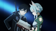Kirito watching Sinon read an old book MT