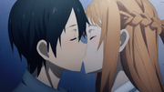 Asuna and Kazuto's kiss after their talk about going to the USA together