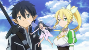 LS Kirito Yui and Leafa looking at Svart ALfheim