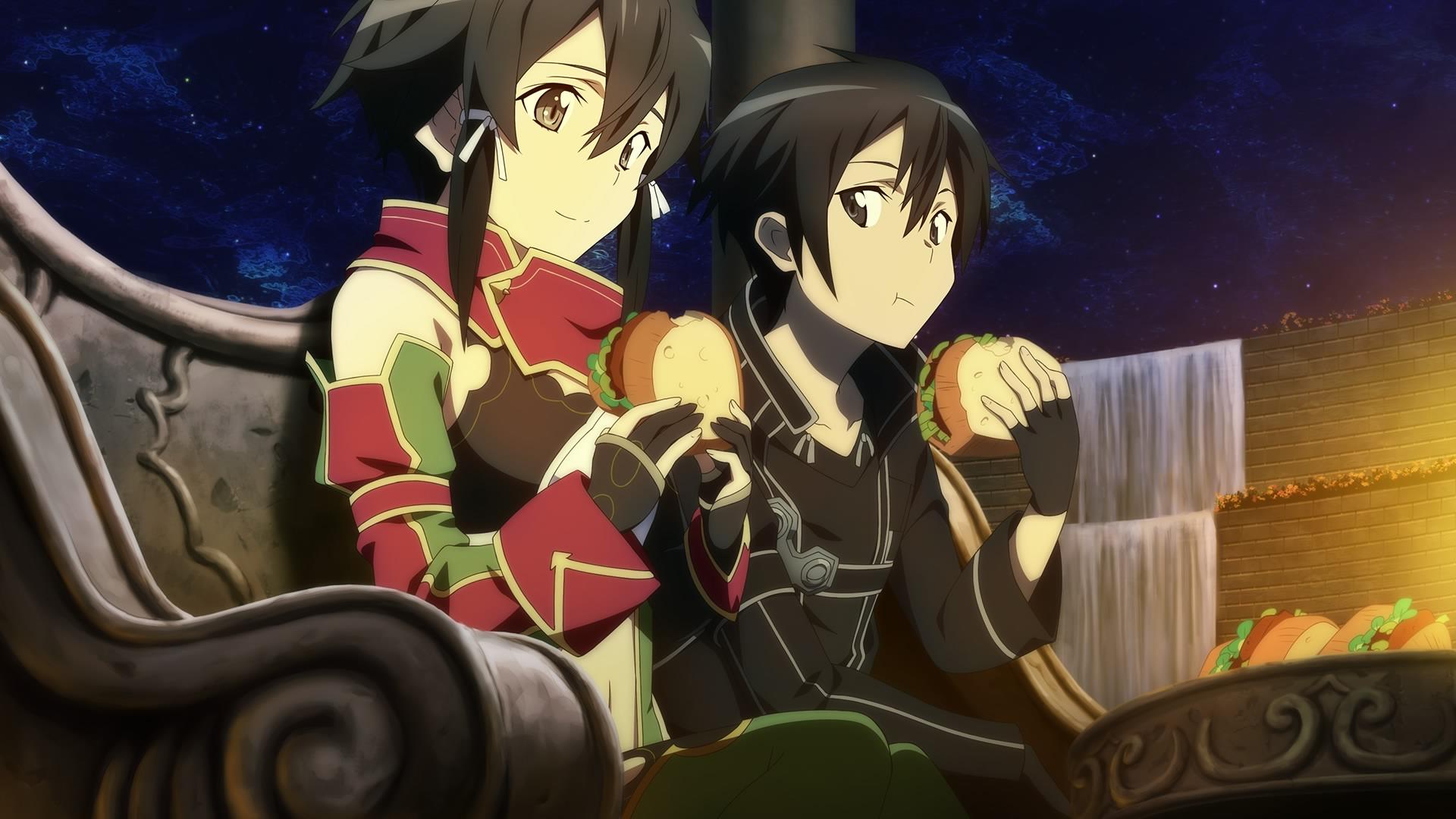 Sinon And Kirito Eating In Hollow Area