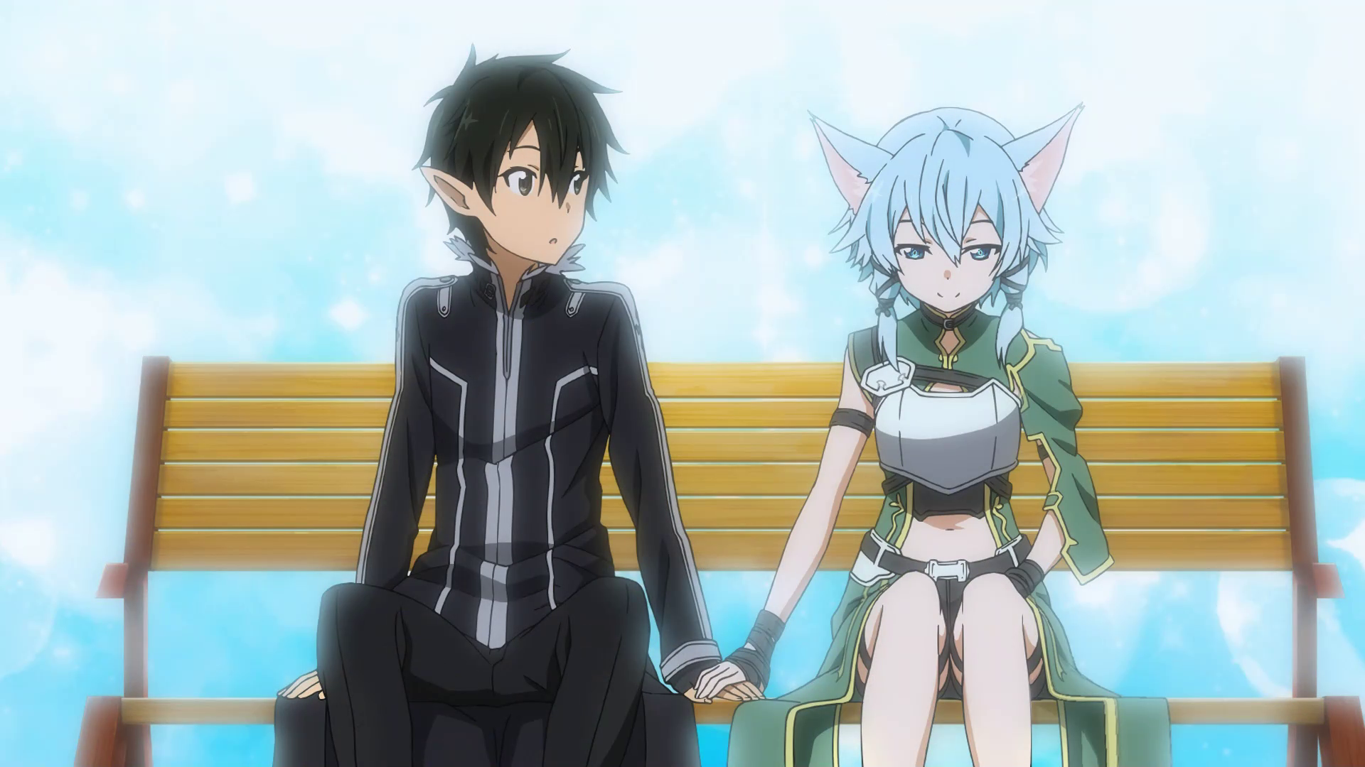 LS Sinon Holding Hands With Kirito On A Bench