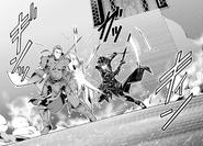 Kirito fighting Heathcliff in Asuna's memories in OS manga Chapter 07