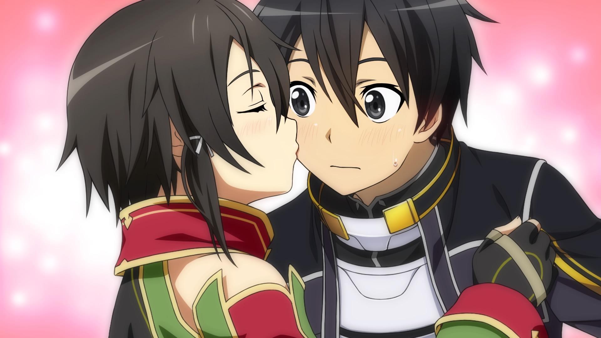 Sinon Kissing Kirito On His Cheek