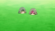 Fukaziroh and LLENN hiding in the grass to avoid being detected - AGGO S01E09
