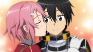 Lisbeth kisses Kirito on his cheek