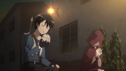 Kirito and Asuna eating bread