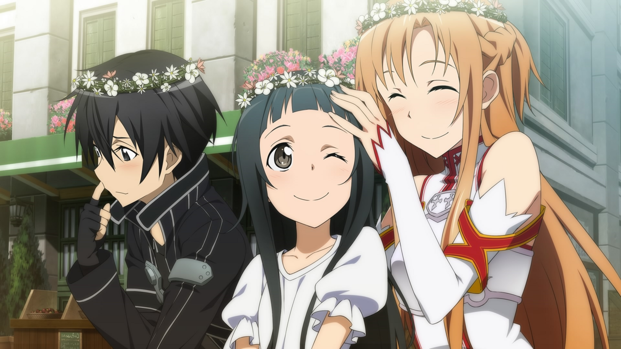 Image kirito asuna and yui wearing flower crownsg sword art kirito asuna and yui wearing flower crownsg izmirmasajfo