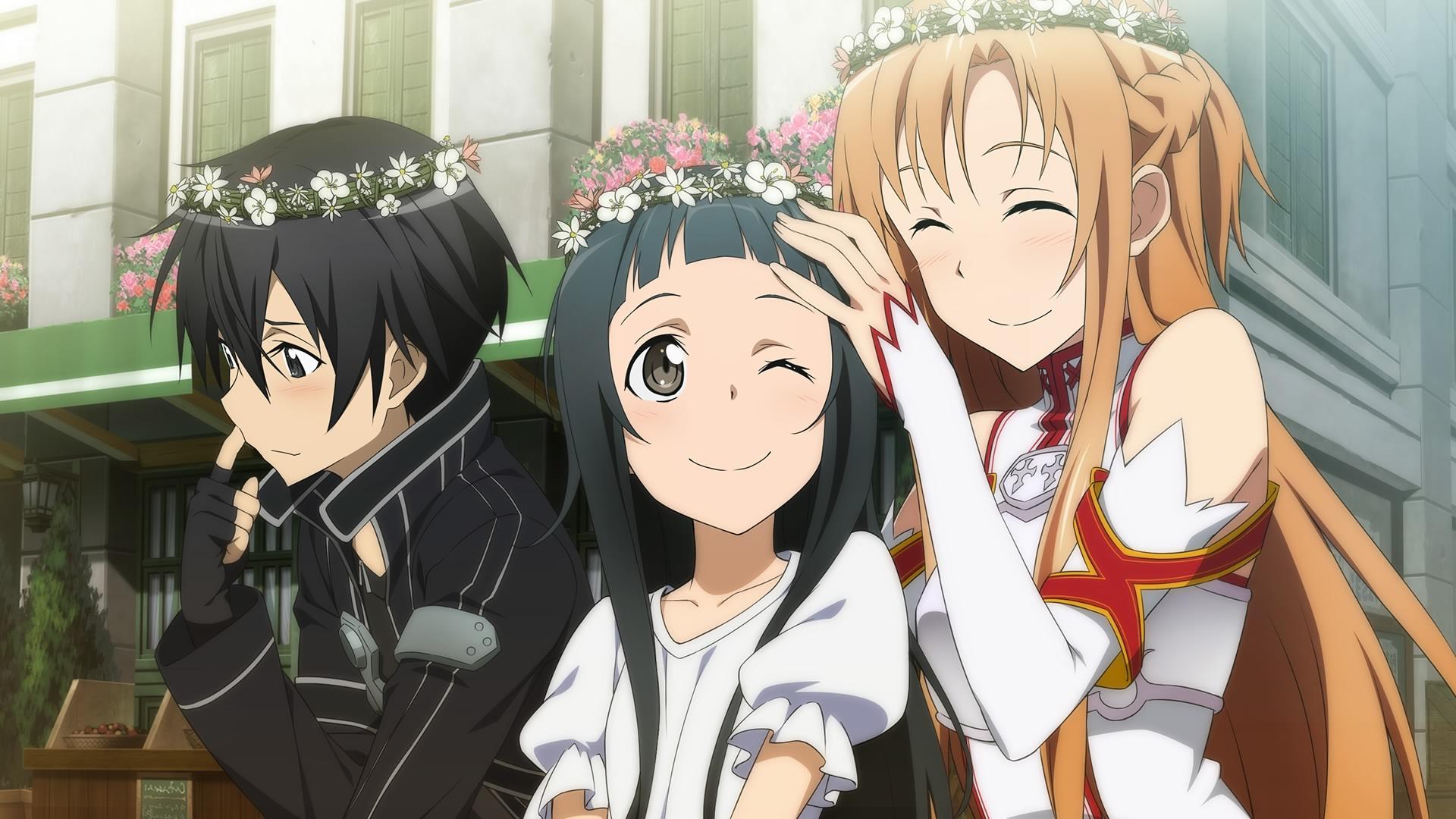 Image Kirito Asuna And Yui Wearing Flower Crownsg Sword Art