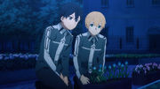 Kirito showing his personal flower planter to Eugeo - S3E07