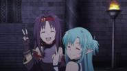 Asuna and Yuuki's victory gesture