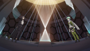 Sinon and Kirito facing each other