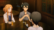 Kazuto explaining the concepts of Fluclight and Soul Translator to Asuna and Shino - S3E01