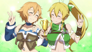Leafa and Philia with trophy