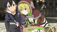 Argo talking with Kirito about potions after her Heroine Event HR DLC3