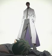 Kayaba Akihiko appearing to the fallen Kirito in ALO