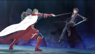Heathcliff stabbing at Kirito