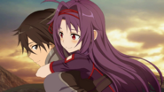 Yuuki riding piggyback on Kirito FB