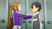 Sortiliena encouraging Kirito before his duel against Volo - S3E08