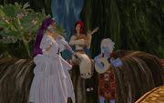 Salene, Nara and Lanya playing music