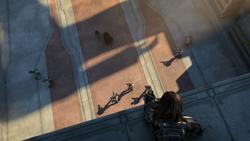 Darth Malgus omringt bij de ingang van de Jedi Tempel