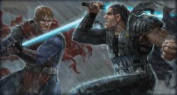 Exar Kun vecht tegen de Jedi