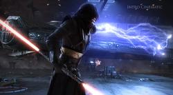 Sith Pureblood Master gebruikt Force Lightning op het schip