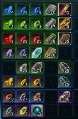 SWTOR - materials - crystals and artifacts