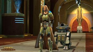 Een Jedi Knight met een companion