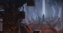 Revan and Malak confronting the Emperor