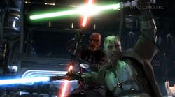 De Zabrak Jedi Master doorboort de Sith Pureblood Master