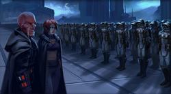 Sith Pureblood met leger van Sith Troopers