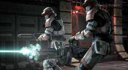 Troopers verdedigen het Korriban Space Station