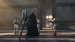 Darth Malgus omringt bij de ingang van de Jedi Tempel close up