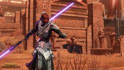 Een vrouwelijke Zabrak Sith Inquisitor