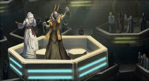 Een Senator die spreekt in de Galactic Senate