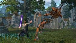 Jedi Knight tegen een droid