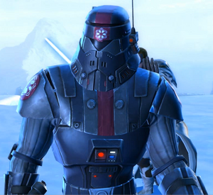 Een Sith Trooper close up ingame