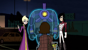 Ilana, Lance and Octus making first contact with a human civilian in Escape to Sherman High