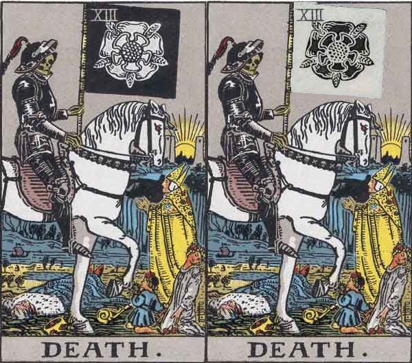 Image Black And White Rose Comparsions Tarot Death Cardg
