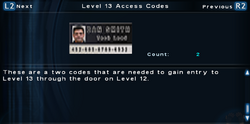 SFTOS Level 13 Access Codes Screen