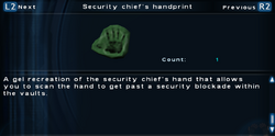 SFTOS Security chief's handprint Screen