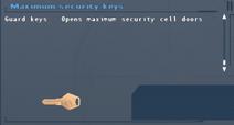 SFLS Maximum Security Keys Screen
