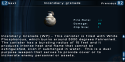 SFTOS Incendiary grenade Screen
