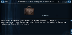 SFTOS Samaev's Bio-weapon Container Screen