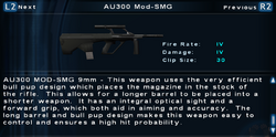 SFTOS AU300 Mod-SMG Screen