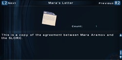 SFTOS Mara's Letter Screen