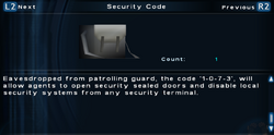 SFTOS Security Code Screen